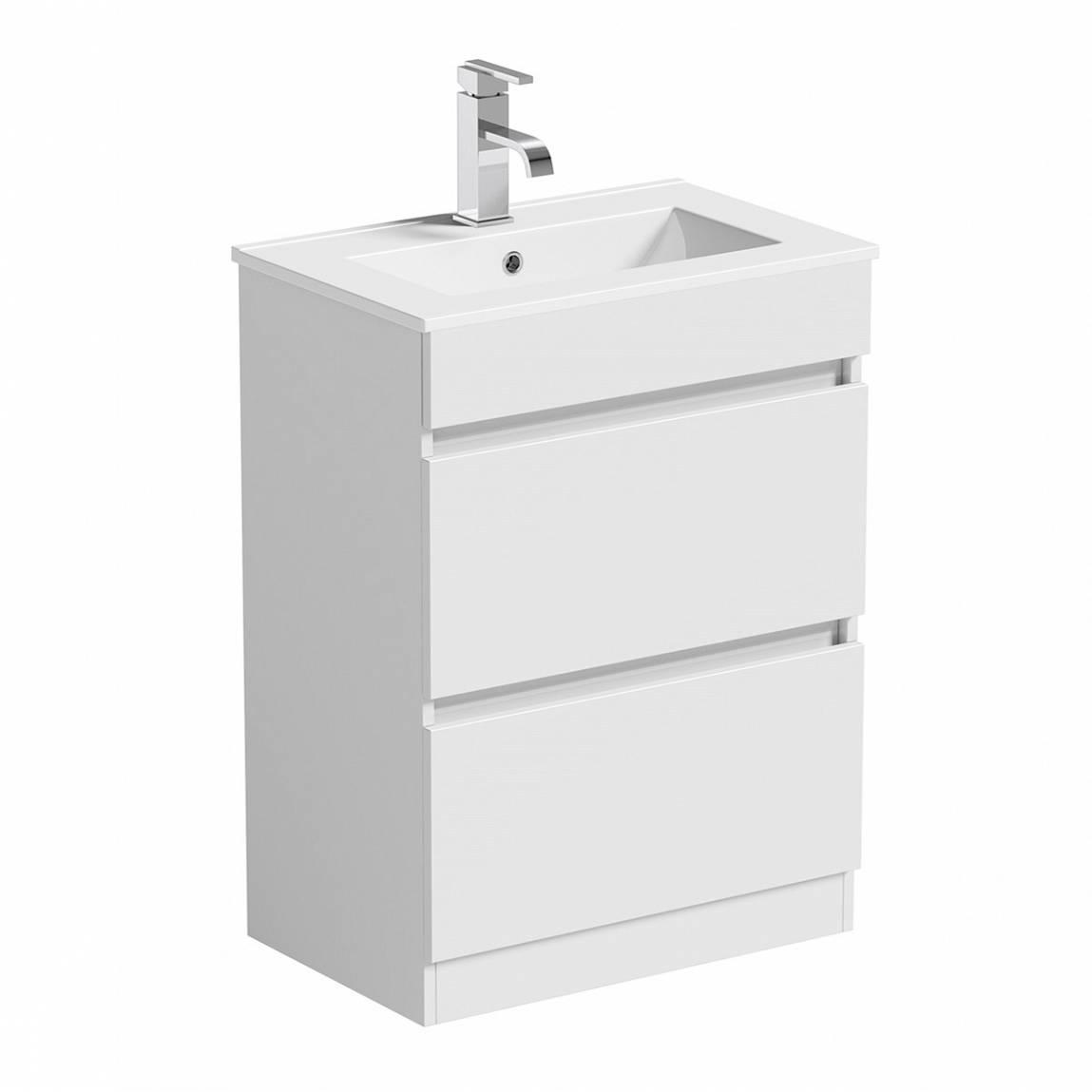 Image of Plan White Floor Mounted 600 Drawer Unit & Basin