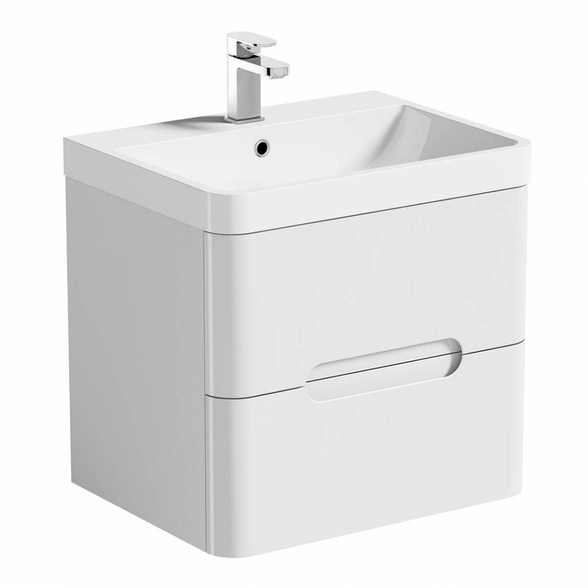 Image of Planet Select White Wall Hung 600 Drawer Unit & Inset Basin
