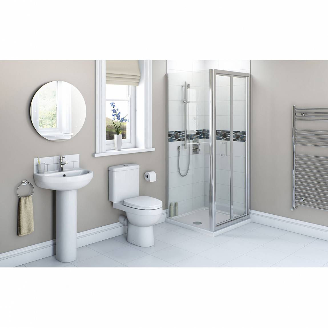 Image of Energy Bathroom set with Bifold Enclosure & Tray 900