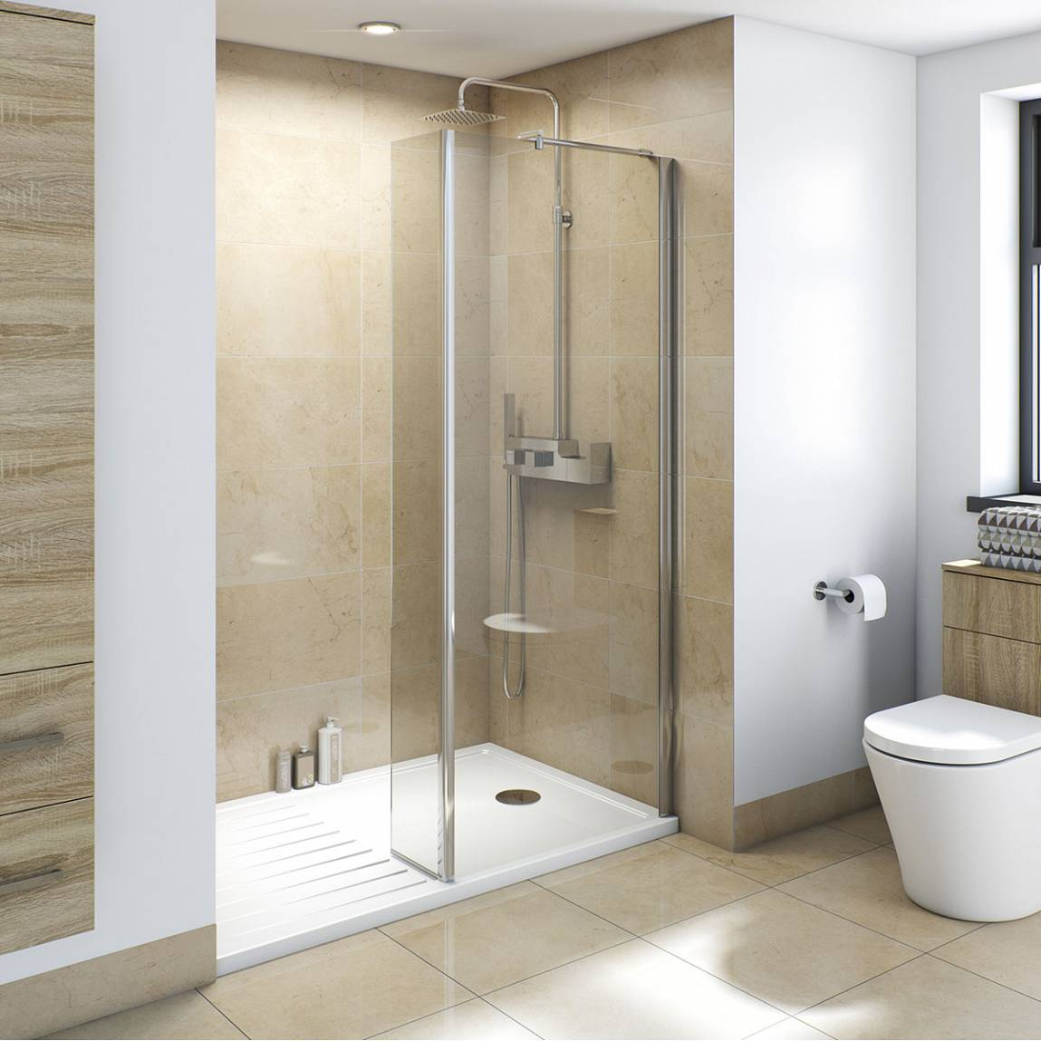 8mm Walk In Recess Shower Enclosure Pack 1400 X 900 With