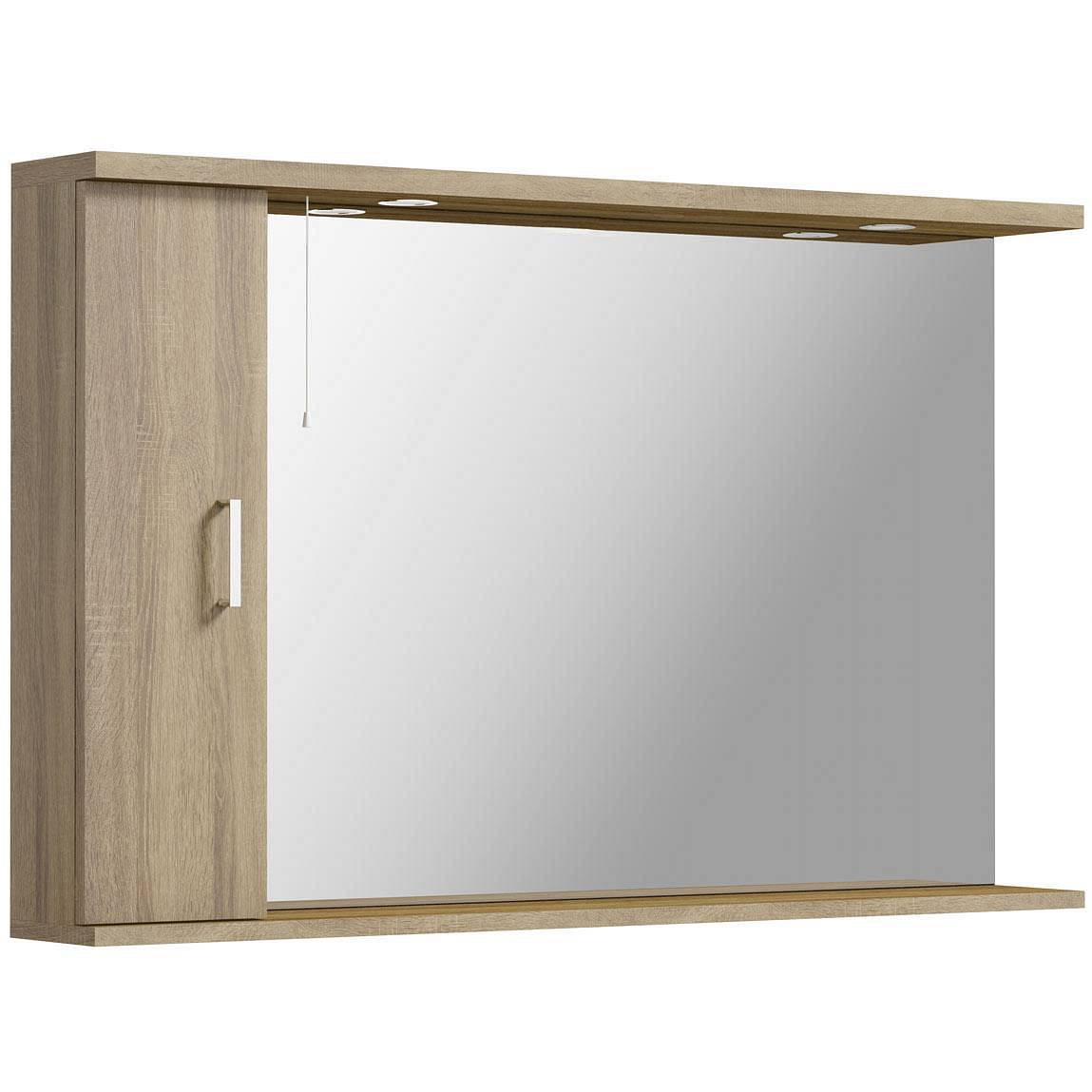 Image of Sienna Oak 120 Mirror with lights