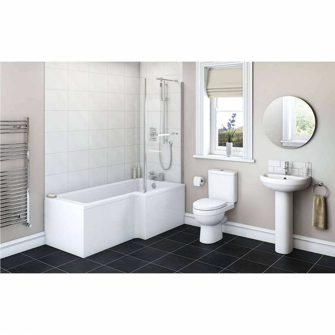 Image of Energy Bathroom Set with Boston 1500 x 850 Shower Bath Suite RH