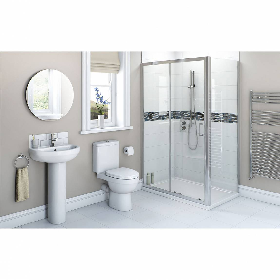 Image of Energy Bathroom Suite with Sliding Enclosure 1200 x 760