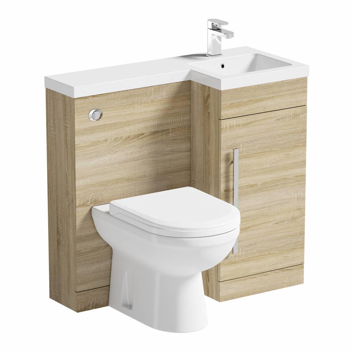 Image of MySpace Oak Combination Unit RH with Autograph BTW Toilet