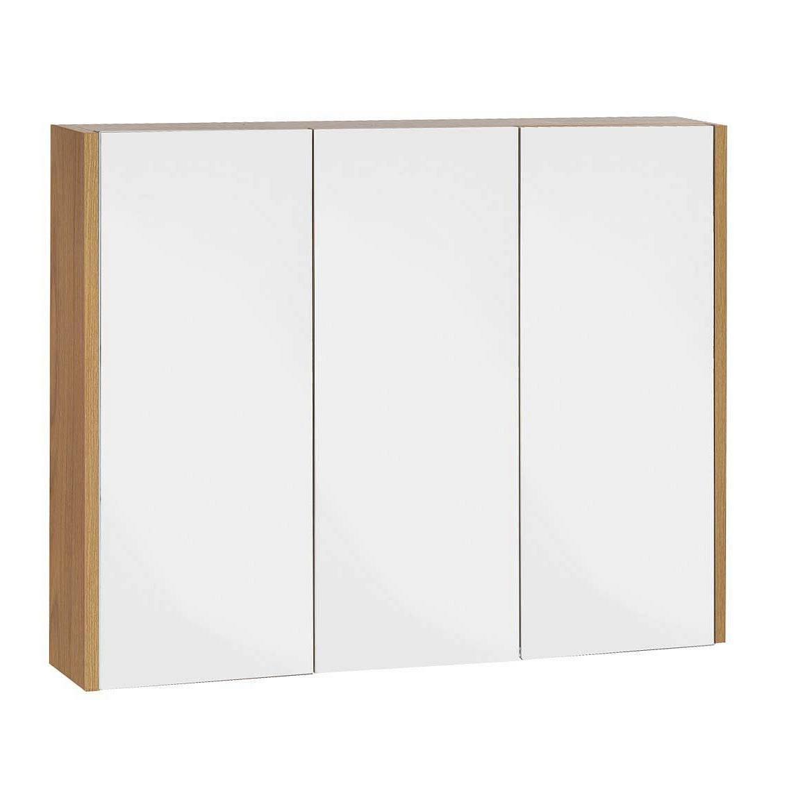 Image of Odessa Oak 3 Door Mirror Cabinet