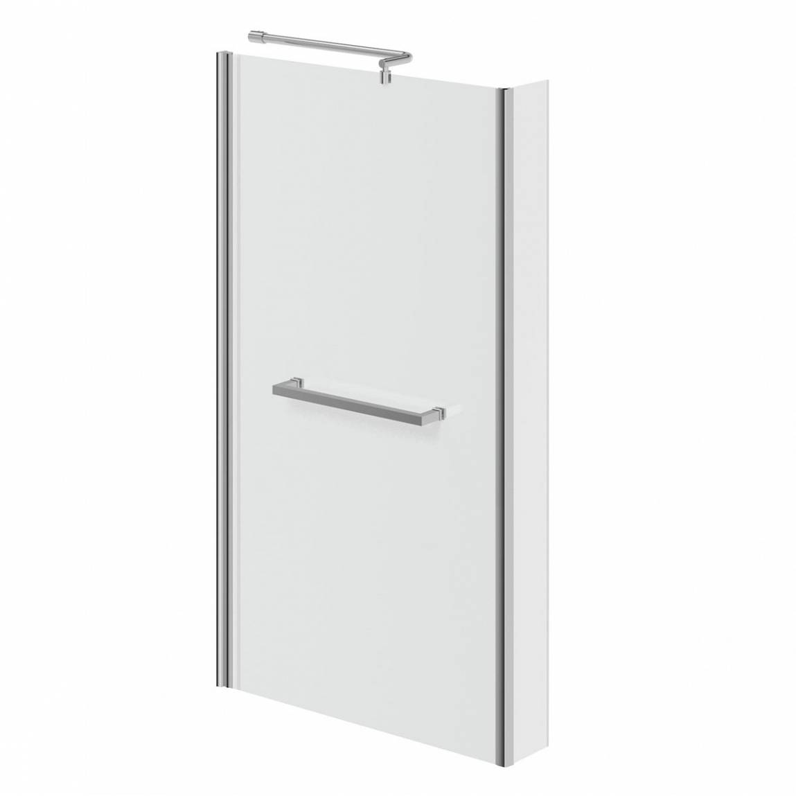 Image of Square Shower Bath Screen with Towel Rail