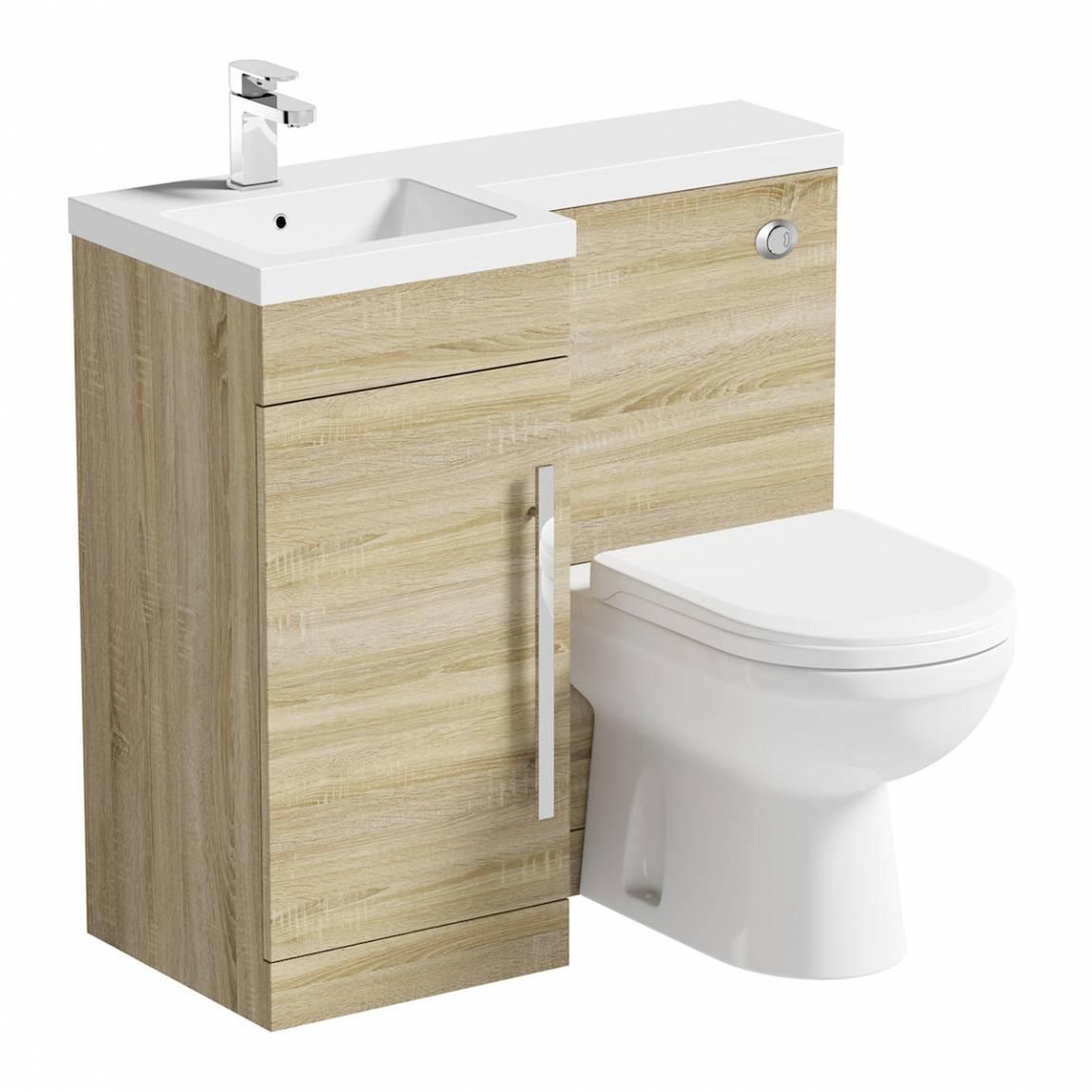 Image of MySpace Oak Combination Unit LH with Autograph BTW Toilet