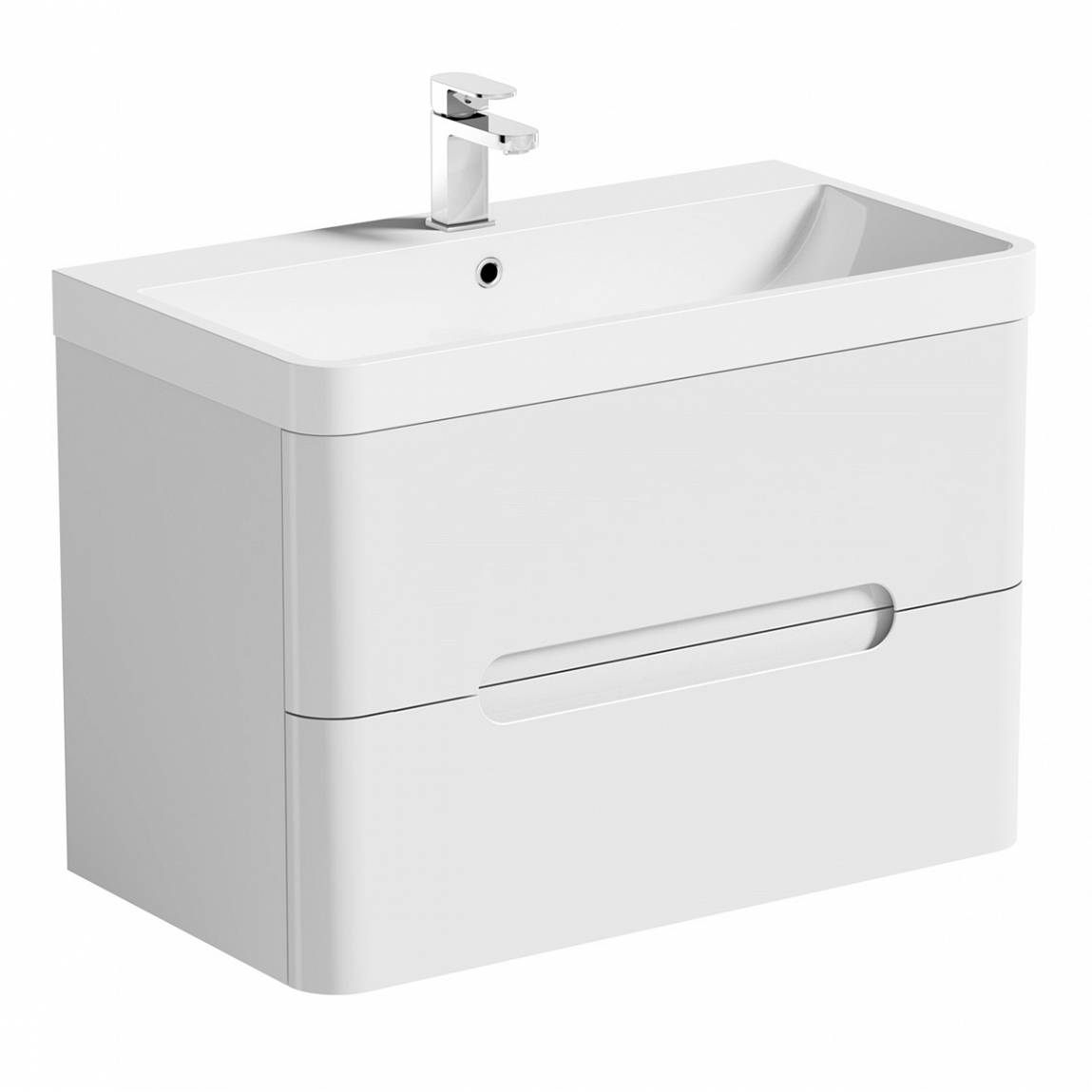 Image of Planet Select White Wall Hung 800 Drawer Unit & Inset Basin