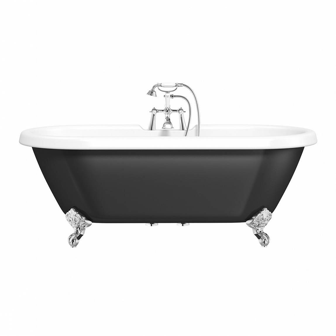 Image of Shakespeare Black Roll Top Bath with Ball Feet