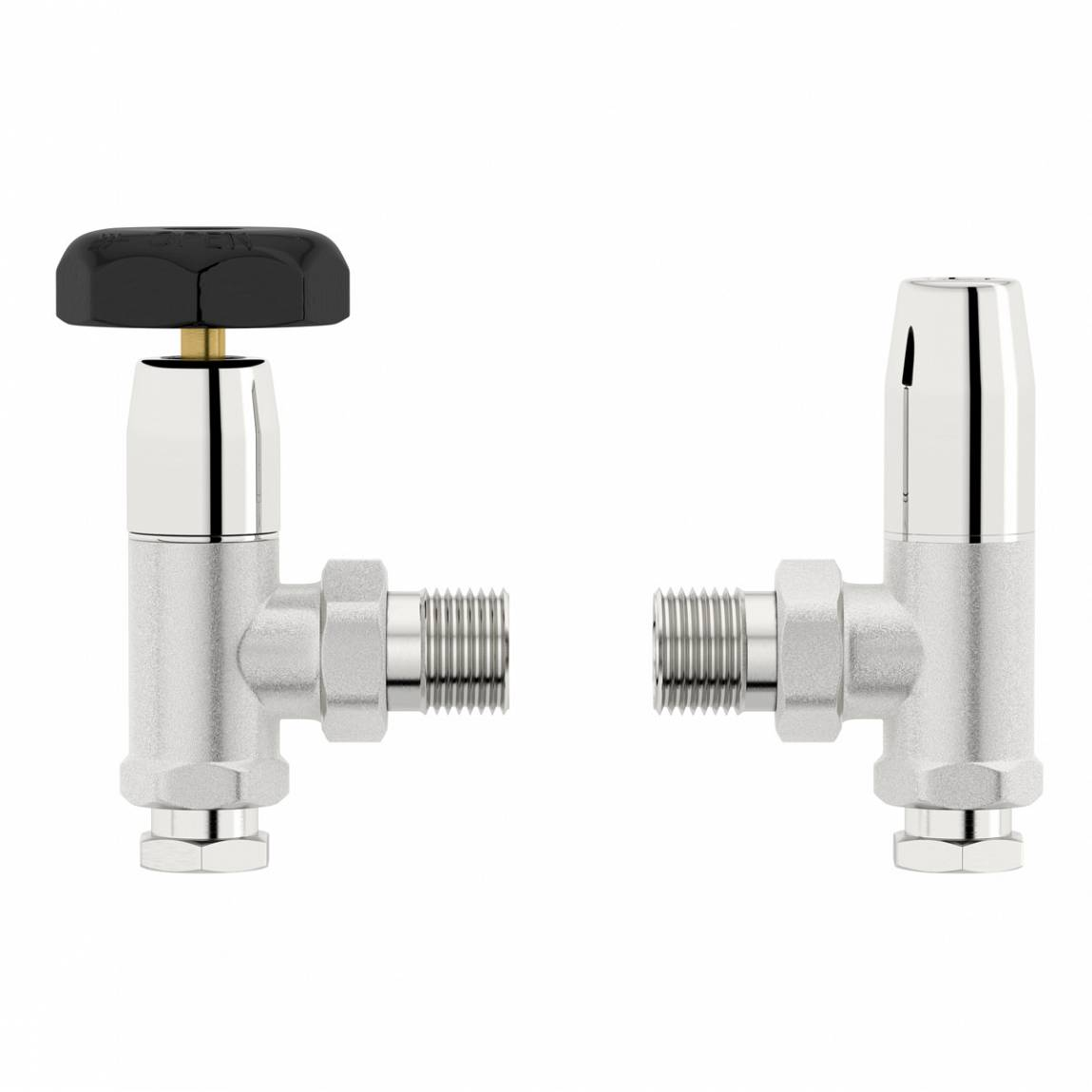 Image of Traditional Angled Radiator Valves with Black Handle