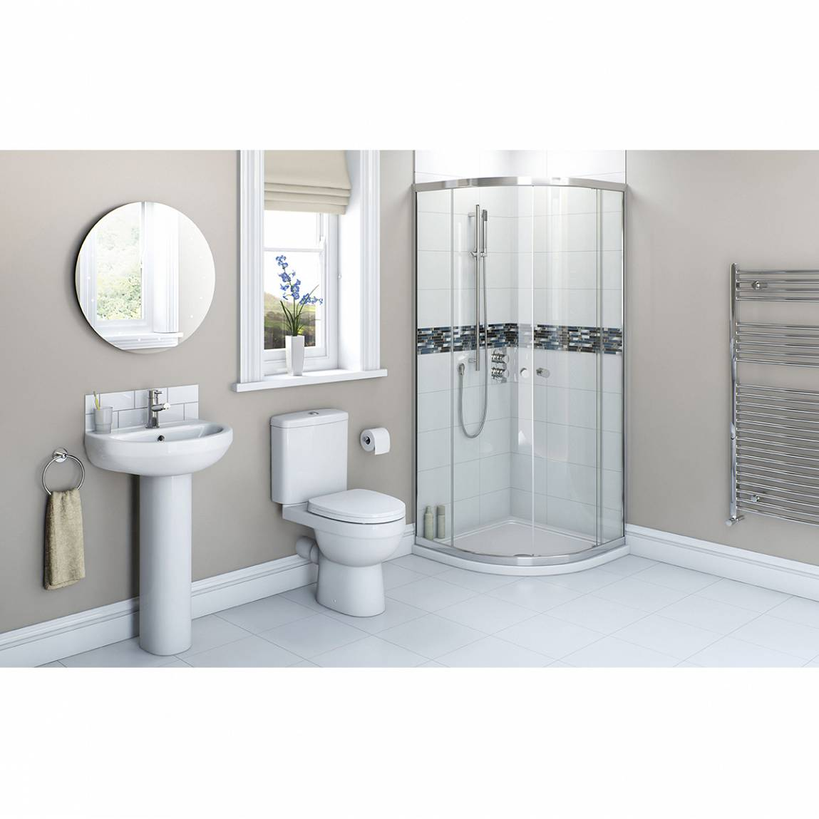 Image of Energy Bathroom set with Quadrant Enclosure & Tray 900