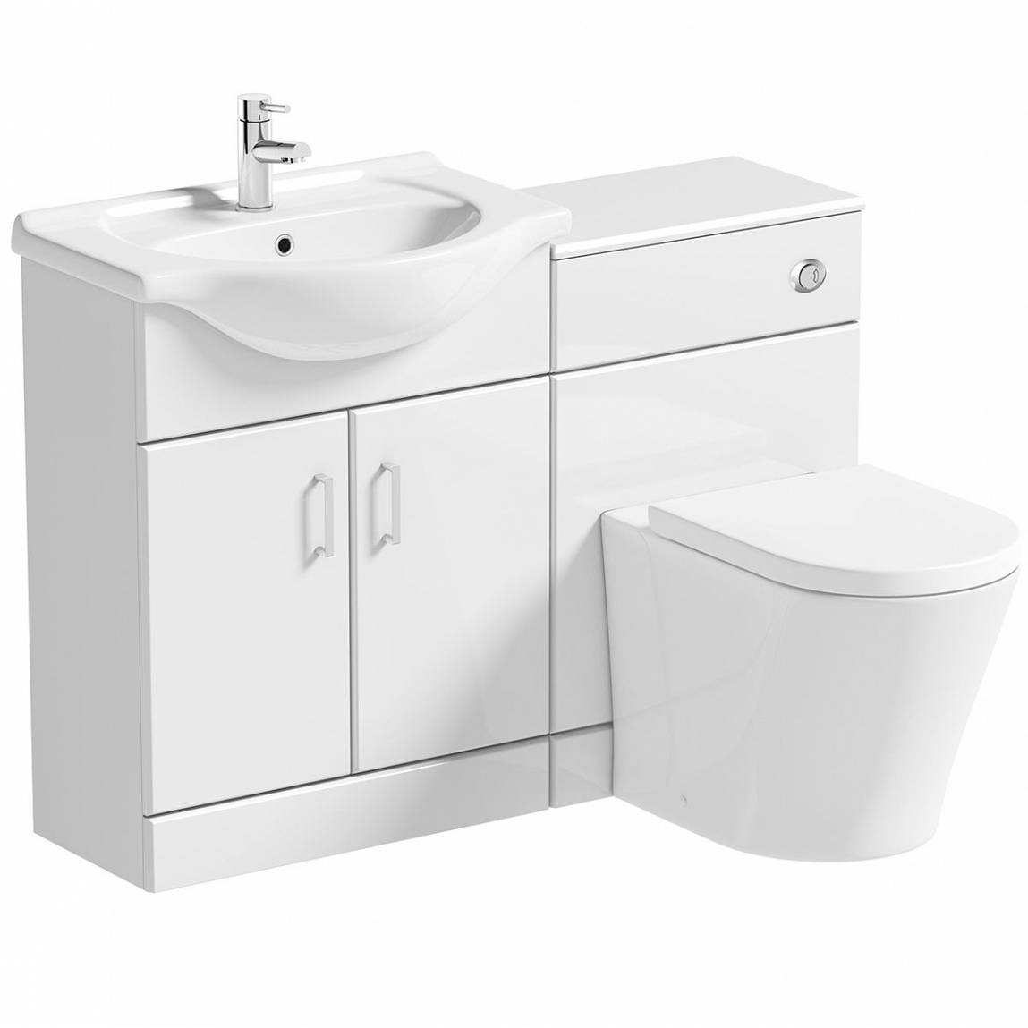 Image of Sienna Arc White Gloss Combination Vanity Unit Large