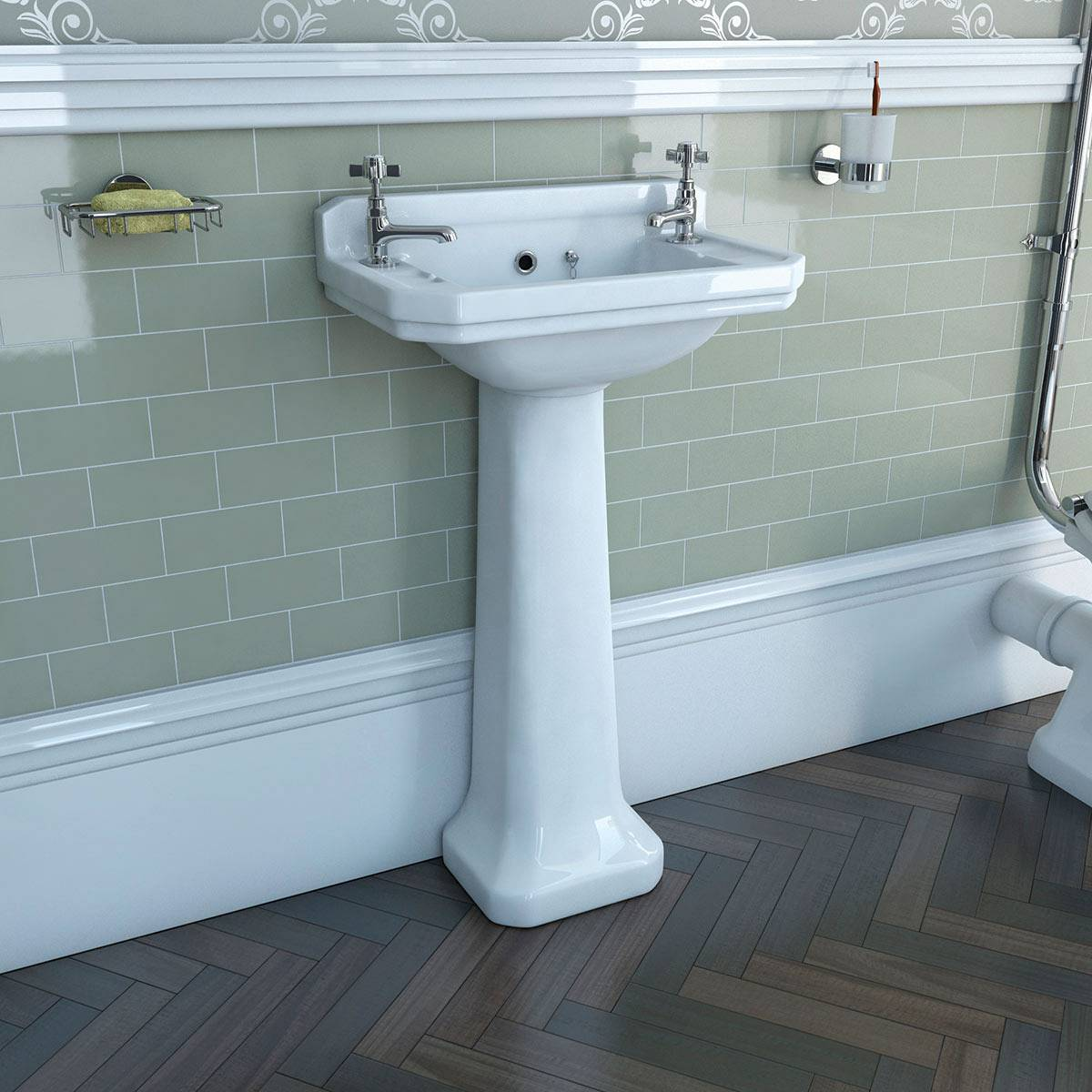 Camberley 2TH Cloakroom Basin & Pedestal VictoriaPlum.com