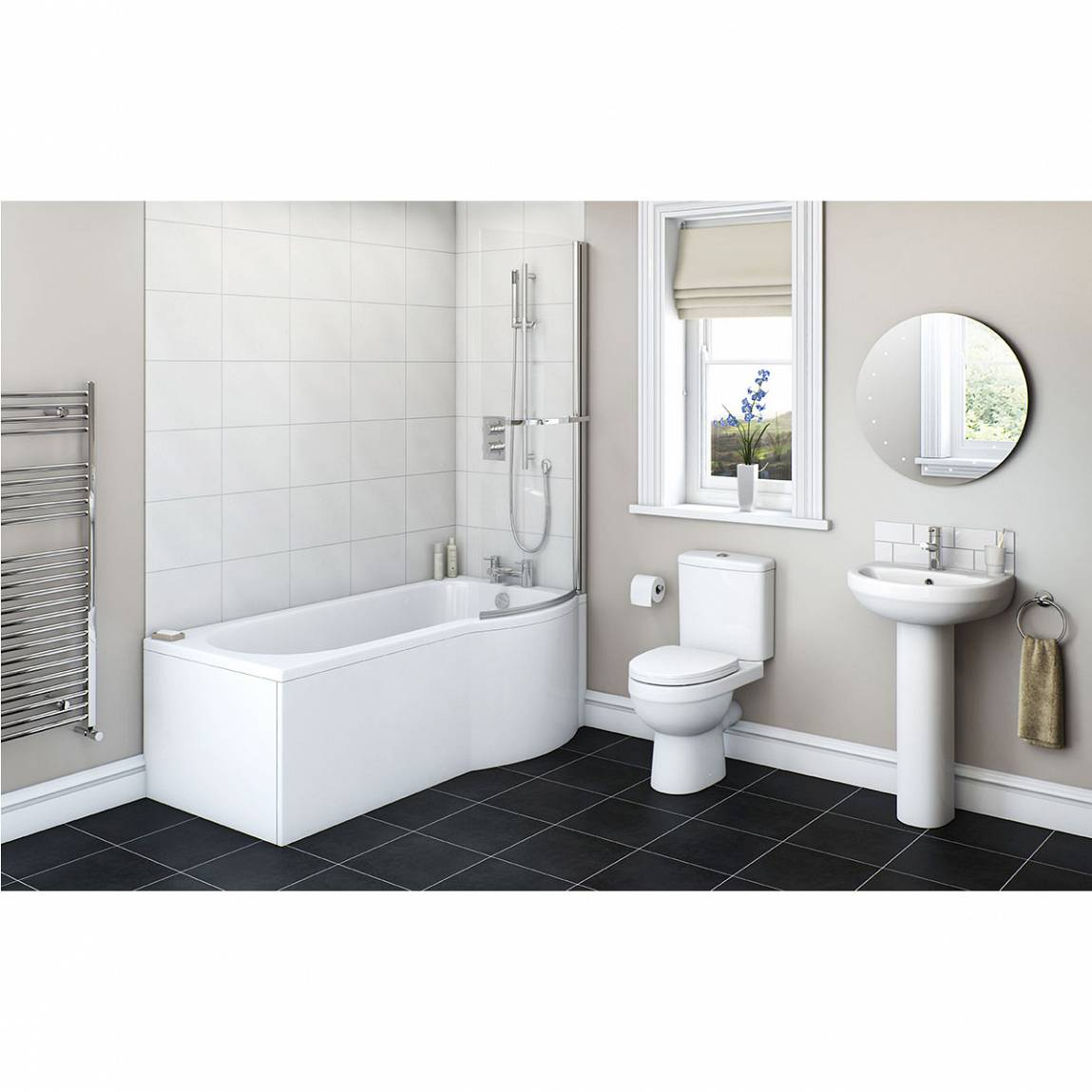 Image of Energy Bathroom Suite with Evesham 1700 x 850 Shower Bath RH