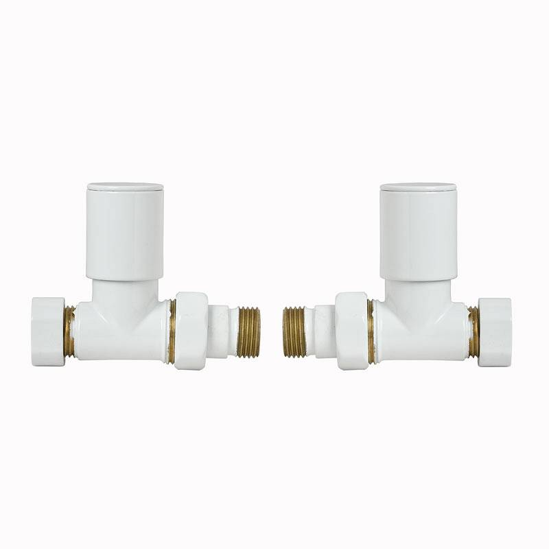 Image of White Straight Radiator Valves