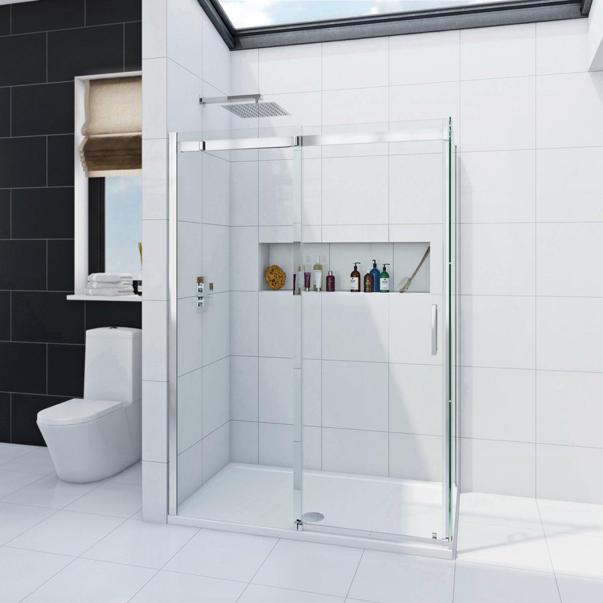 Infiniti 8mm sliding shower enclosure 1200 x 800 for 1200 shower door 8mm glass