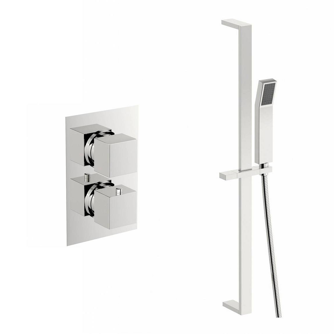 Image of Cubik Thermostatic Twin Valve and Riser Rail Set