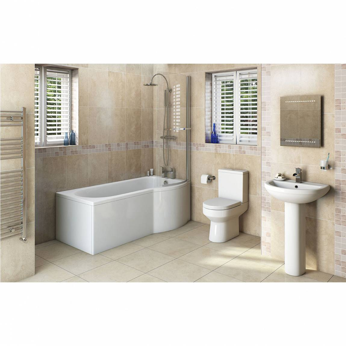 Image of Oakley Bathroom Suite with Evesham 1700 x 850 Shower Bath RH & Free Tap