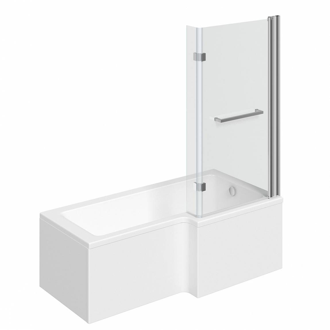 Image of Boston Shower Bath 1500 x 850 RH with 8mm Hinged Screen with Towel Rail