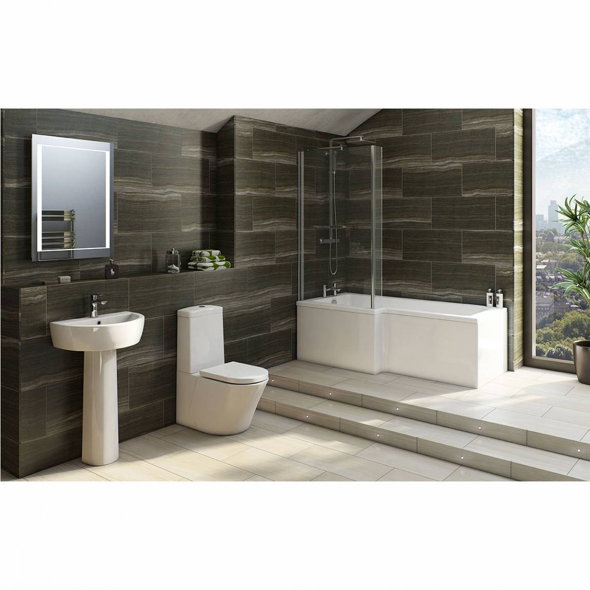 arc bathroom suite with boston 1700 x 850 shower bath lh 1700 shower bath b shaped with front panel and screen left