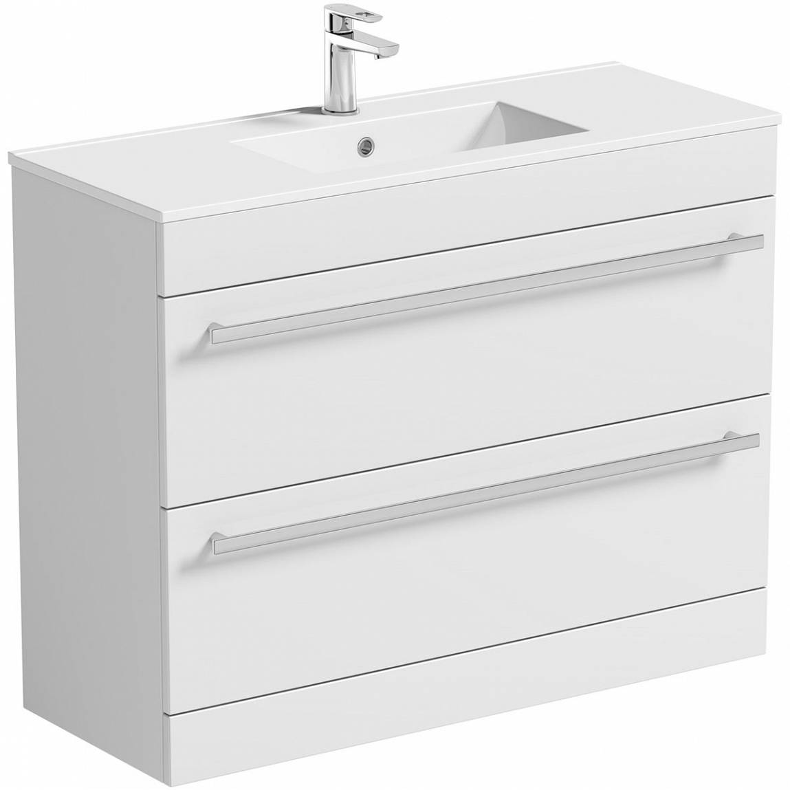 Image of Odessa White Floor Mounted 1000 Drawer Unit & Basin