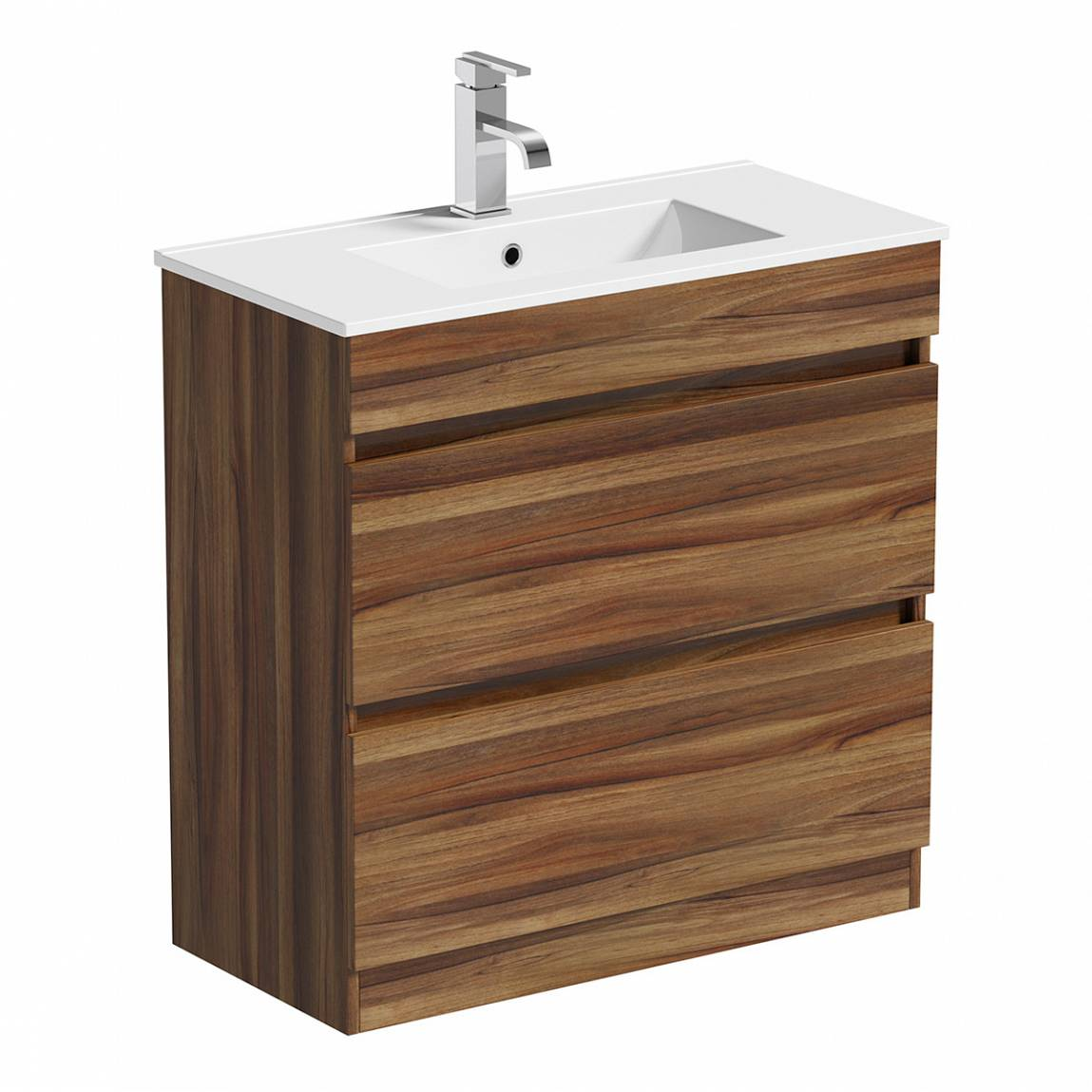 Image of Plan Walnut Floor Mounted 800 Drawer Unit & Inset Basin