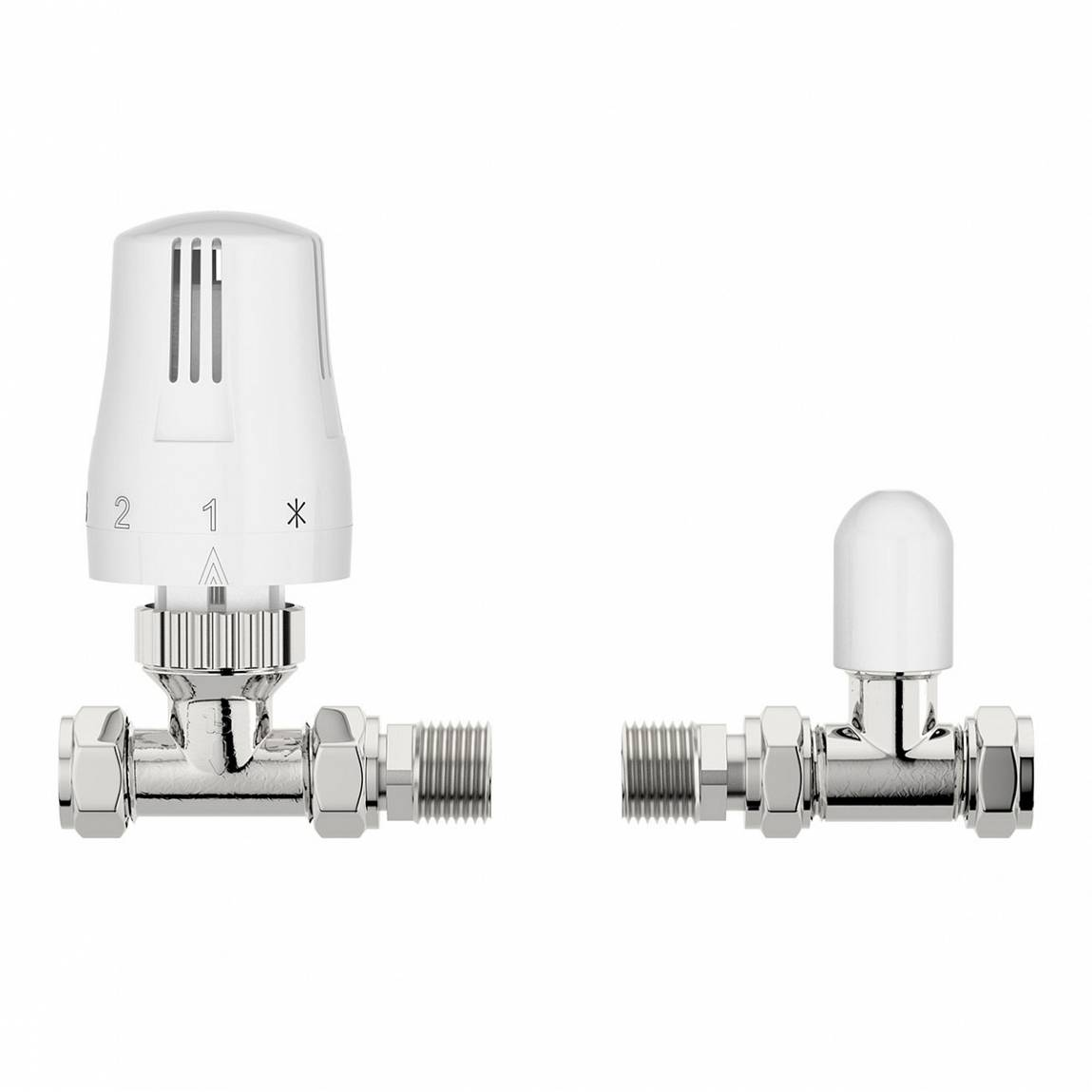 Image of Thermostatic White Straight Radiator Valves