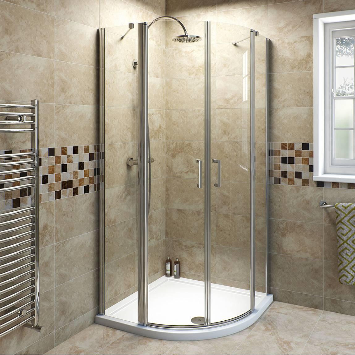 Image of V6 Frameless Quadrant Pivot Shower Enclosure 900 + Sealant