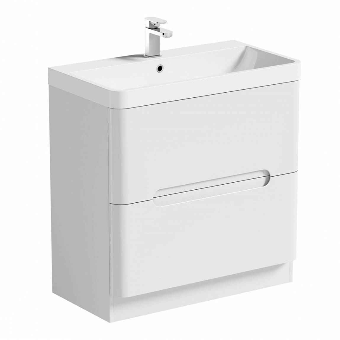 Image of Planet Select White Floor Mounted 800 Drawer Unit & Basin