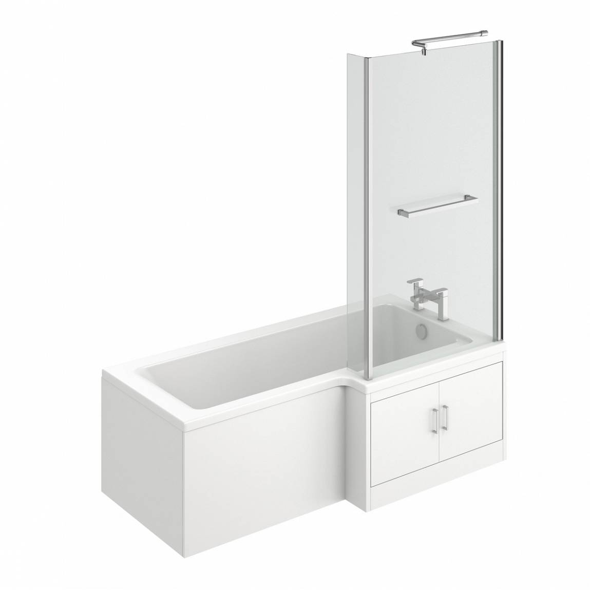 Image of MySpace Water Saving L Shape Shower Bath Right Hand with Storage Panel & 6mm Screen with Towel Rail