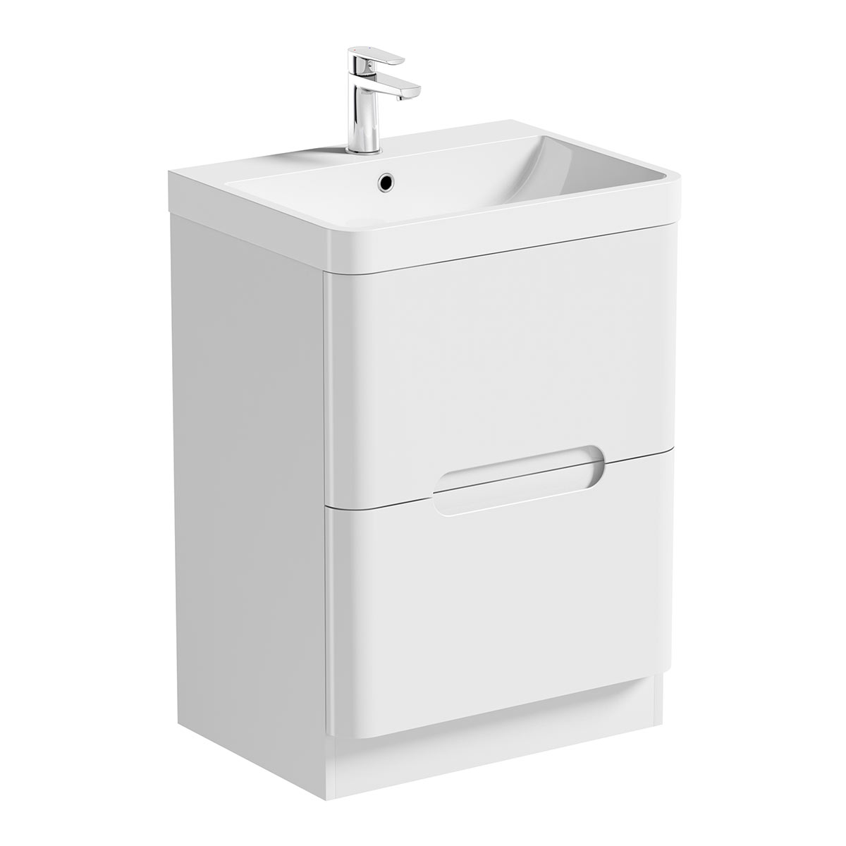 Image of Planet Select White Floor Mounted 600 Drawer Unit & Basin