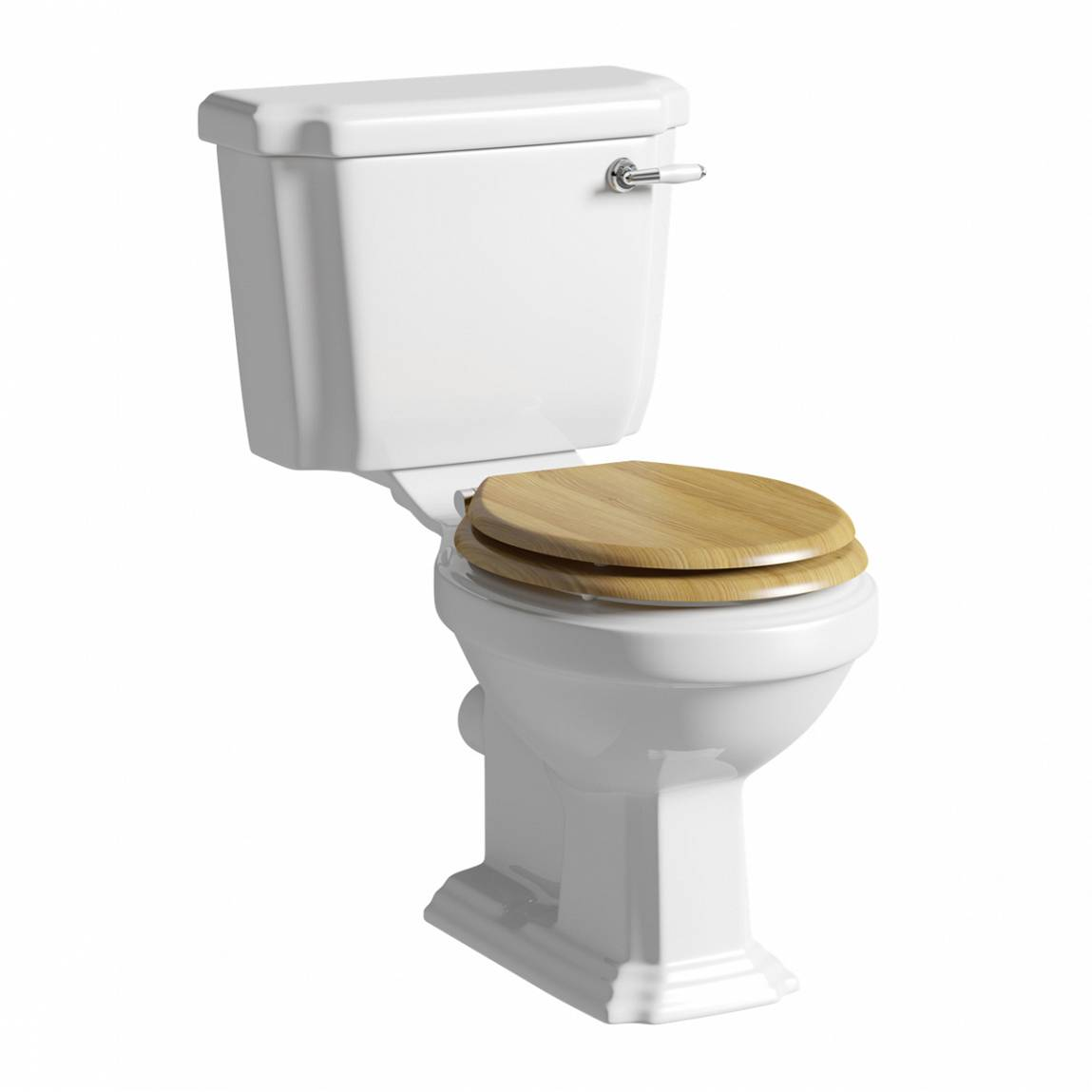 Image of Cavendish Close Coupled Toilet with Oak Effect Soft Close Seat and Ceramic Handle Flush